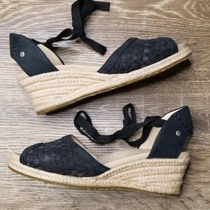 Ugg black leather espadrilles wedge lace up 6.5